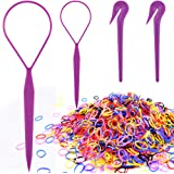 Colorful Elastic Hair Bands, IKOCO Hair Braid Kit with 2 Pcs Durable Topsy Tail Tools 2 Pcs Hair Elastic Band Cutter and 1000
