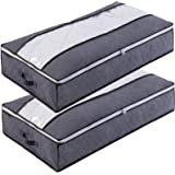 84L Large Clothes Storage Bags with Zips, 3 PCS Duvet Storage Bag King Size, Thick Breathable Fabric Underbed Storage Bags wi