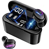 【最新Bluetooth5.2技術】 Bluetooth イヤホン ワイヤレスイヤホン 両耳 左右分離型 高音質 最大40時間音楽再生 瞬時接続 マイク内蔵 IPX5防水 Siri対応 ハンズフリー 通話 自動ペアリング ブルートゥース イヤホン 技