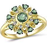 Lurie Jewelry Diamond Emerald Yellow Gold Ring - 0.044 Carat 14K Yellow Gold Ring with White Diamond and 0.65 Carat Emerald G
