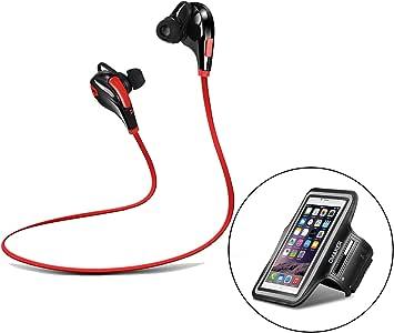 【ランニングアームバンド付属】Omaker Bluetoothイヤホン ノイズキャンセル 高音質 カナル型ヘッドセット/マイク搭載 通話可能 iphone6s/iphone6splus/iphone6/iPhone6plusなどスマホに対応するスマホケース(ブラック+レッド)