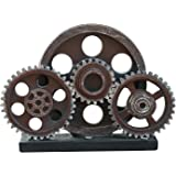 "Rmdusk Industrial Steampunk Gear Train Figurine, Cog Wheel Statue, Resin Model, Home Bar Décor Ornament 7.7"" H Copper"
