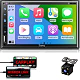 """Car Stereo Compatible with Apple Carplay, Double Din 7"""" Full Touch HD Capacitive Screen - Mirror Link, Bluetooth, Backup Came"""