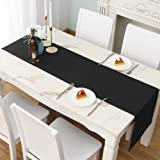 DUALIFE Black Table Runner 14x72 inch Solid Color Thick Polyester Decorative Cloth Handcrafted for Wedding Party Birthday Gra