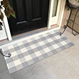 Gray Buffalo Check Rug Runner - Plaid Door Mat Cotton Woven Small Throw Rug, Kitchen Entryway Doorway Laundry Entrance Way Ba