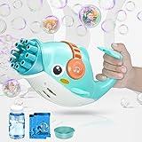 josid Bubble Guns for Kids 3-10,Bubble Maker Machine Electric Bubble Gun,10 Gifts,Bubble Machine with Bubble Solution.(Blue)
