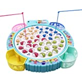 TuKIIE Fishing Game Toy Pole and Rod Fish Board Rotating with Music Includes 45 Fish and 4 Fishing Poles Fine Motor Skill Tra
