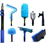 EVERSPROUT Extension Pole Total Kit (25+ Foot Reach) | Telescopic Pole, Scrub Brush, Light Bulb Changer, Utility Hook, Swivel