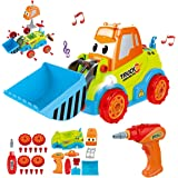 REMOKING Take Apart Construction Car Toys, STEM Building Toys 25 Pieces Assembly Truck Toys with Drill Tool, Lights and Sound