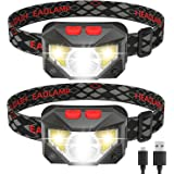LED Headlamp Flashlight, USB Rechargeable Head Lamp, with Red Light, 8 Modes, Waterproof, Motion Sensor, Headlight Headlamps