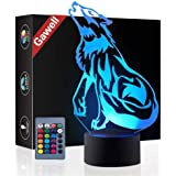 Wolf 3D Beside Table Lamp Illusion Night Light, Gawell 7 Color Changing Touch Switch Desk Decoration Lamps Perfect Birthday C