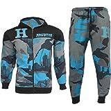 Kids Boys Tracksuit HNL Blue Camouflage Hoodie Bottom Jogger Jogging Suit 7-13Y