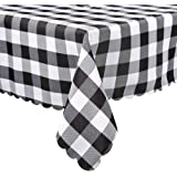 DESNC02 Square Tablecloth, Black & White Check Plaid in Washable Polyester, Great for Kitchen Dinner Buffet Table, Parties, H