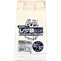 ジャパックス ポリ袋 乳白 横37+マチ18×縦80cm 厚み0.02mm レジ袋 シリーズ 一枚一枚 開きやすい エンボス加工 RE-80 100枚入 (37+マチ18)×80cm 厚さ0.02mm