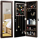 HollyHOME Mirrored Jewelry Cabinet Lockable Wall Door Mounted Jewelry Armoire Organizer with Full Length Mirror Space Saving
