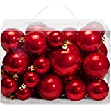 AMS Christmas Ball Plating Ornaments Tree Collection for Holiday Parties Decoration (40ct Pearl, Red)