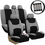 FH Group FB030GRAYBLACK115-COMBO Seat Cover Combo Set with Steering Wheel Cover and Seat Belt Pad (Airbag Compatible and Spli