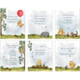 Winnie The Pooh Art Prints - Set of 6 (8 inches x 10 inches) Baby Shower Decorations, Nursery Wall Art Decor - Baby Bedroom,