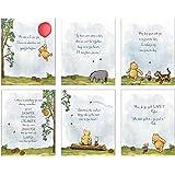 "Winnie The Pooh Baby Shower Decorations, Gift Prints - Set of 6 (5""x7"") Nursery Wall Art Decor - Baby Bedroom Decor, Nursery"