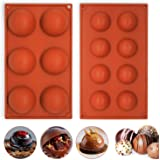 Semicircle Silicone Mold Set of 2 - Half Sphere Dome Bakeware Set for Cake Decoration, Half Circle Baking Tray for Teacake, S