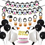 Penguin Party Supplies Happy Birthday Banner Walking Penguin Balloons Cake Toppers for Birthday Party, Baby Shower Decoration