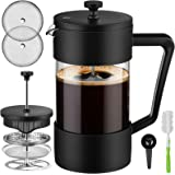 Veken French Press Coffee & Tea Maker 34oz, Thickened Borosilicate Glass Coffee Press with 3 Filter Screens, Rust-Free and Di