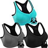 Double Couple Women Racerback Sports Bras High Impact Workout Yoga Gym Activewear Fitness Bra