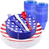 KIRE 25 Guests 4th of July Plastic Plates & Red White Blue Disposable Plastic Silverware &Clear Blue Cups-American Flag Patri