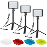 Neewer Video Conference Light Kit, 3-Pack Dimmable 5600K USB LED Video Lights with Desktop Tripod Stand and Color Filters for