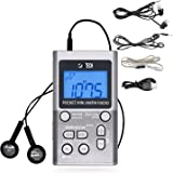 BTECH MPR-AF1 AM FM Personal Radio with Two Types of Stereo Headphones, Clock, Great Reception and Long Battery Life, Mini Po