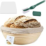 9 Inch Proofing Basket,WERTIOO Bread Proofing Basket + Bread Lame +Dough Scraper+ Linen Liner Cloth for Professional & Home B