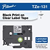 """Brother Genuine P-touch TZE-131 Tape, 1/2"""" (0.47"""") Standard Laminated P-touch Tape, Black on Clear, Perfect for Indoor or Out"""
