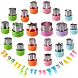 Vegetable Cutters Shapes Set, 20pcs Stainless Steel Mini Cookie Cutters, Vegetable Cutter and Fruit Stamps Mold + 20pcs Cute
