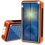 ソーラーチャージャー 40000mAh モバイルバッテリー 超大容量 QuickCharge ソーラー充電器 Lakko 充電バッテリー 急速充電 携帯充電器 ソーラーパネル IPX6防水 LEDライト 4台同時充電 スマホ 太陽エネルギーパネル 4