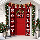 Christmas Banner Holly Jolly Banner Decorations Outdoor Indoor, Holly Jolly and Joy Porch Sign, Christmas Buffalo Check Banne