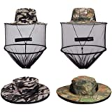 VIPITH 2 Pack Mosquito Head Net Hat, Sun Hat Bucket Hat with Hidden Net Mesh Mask for Outdoor Lover Fishing Hiking Gardening