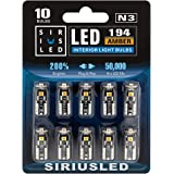 SiriusLED 3030 PX Chipset Super Bright Compact Wedge LED Bulbs for Interior Car Lights License Plate Dome Map Courtesy Side M