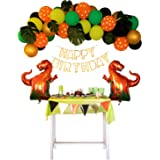 Dinosaur Party Decorations Set Balloons Garland Kit Foil Balloon and Cute Jungle Theme Set Boys Girls 1 2 3 4 Birthday Party