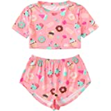 DIDK Women's Allover Cat Print Tee and Shorts Pajama Set