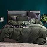ECOCOTT 3 Pieces Duvet Cover Set King 100% Washed Cotton 1 Duvet Cover with Zipper and 2 Pillowcases, Ultra Soft and Easy Car