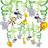 Supla 30 pcs Jungle Animals Hanging Swirl Decorations Green Safari Party Forest Animal Theme Supplies for Baby Shower Kids 1s