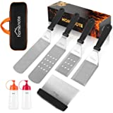 homenote Griddle Accessories Kit, 7-Pieces Exclusive Griddle Tools Long/Short Spatulas Set - Commercial Grade Flat Top Grill