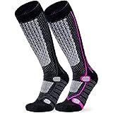 TSLA 2 Pack Men and Women Winter Ski Socks, Calf Compression Snowboard Socks, Warm Thermal Socks for Cold Weather