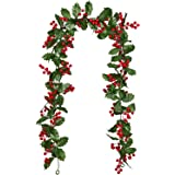 Lvydec Red Berry Garland Christmas Decoration - 5.8ft Artificial Greenery Garland with Red Berries and Holly Leaves for Holid