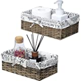 Unistyle Decorative Wicker Storage Basket with Liner, Handmade Wicker Basket for Organizing Bathroom, Woven Storage Basket fo