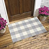 Plaid Cotton Woven Rug - Gray and White Area Rug Runner | Buffalo Check Door Mat | Rug for Kitchen Entryway Doorway Laundry E