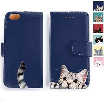 iPhone ケース 手帳型 Cat Cat Cat!可愛いネコのしっぽがチラリ 猫コレクション オシャレ シンプル かっこいい 可愛い アイフォン カバー スマホケース アイホン (iPhone6/6s, アメリカンショートヘアー)