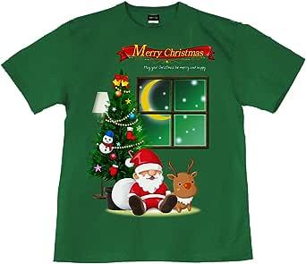 [GENJU] Tシャツ クリスマス 裏もデザイン有 イベント パーティ スワロフスキー メンズ キッズ