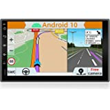 YUNTX Android 10 Double Din Car Stereo with Navi - GPS 2 Din - with Free Rear Camera - 7 inch - Soutien DAB +   Commande au V