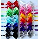Yagopet 20pcs Pet Dog Bow tie Dog Bowtie Collar Mix 18 Colors Solid Dog Ties Adjustable Pet Pet Collars Dog Grooming Accessor